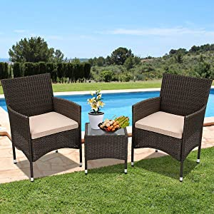 3 Pieces Patio Furniture Set Outdoor Wicker Bistro Set Rattan Chair w/ Thickened Cushions & Table Conversation Sets Patio Sofa Wicker Table Set for Yard Backyard Lawn Porch Poolside Balcony, Khaki