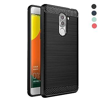 Funda Huawei Honor 6X,Amytech Silicona Fundas para Huawei Honor 6X Carcasa Huawei Honor 6X Fibra de Carbono Funda Case,Negro