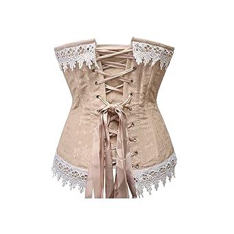 0cba8e869fb Amazon.com  ACHATT Corsets For Women Steel Boned Outer in Beige (XL ...