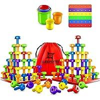 Stacking Peg Board Set Toy   JUMBO PACK   60 Pegs & Board + FREE Stacking Cups + FREE Colorful Board + FREE Storage Bag…