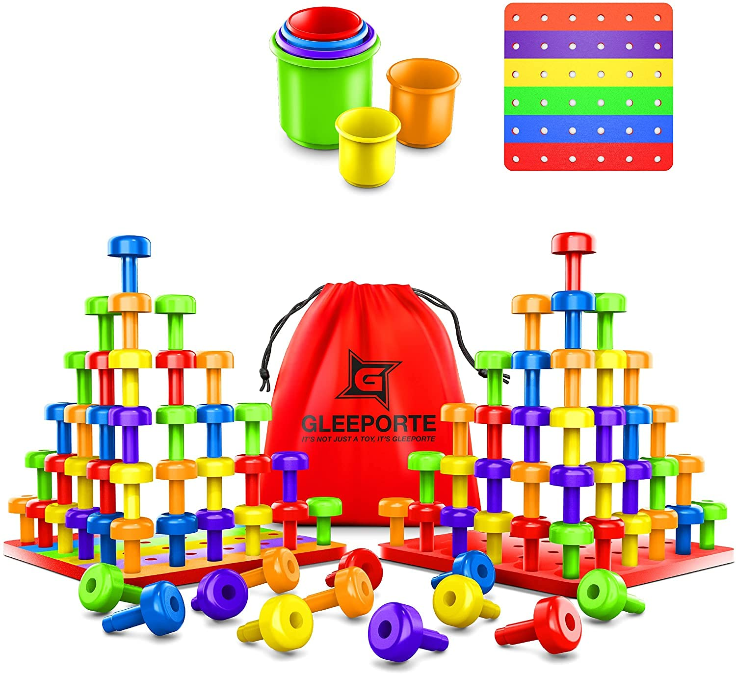 Gleeporte Stacking Peg Board Set Toy JUMBO PACK Montessori Occupational Therapy Early Learning For Fine Motor Skills, Ideal for Toddlers and Preschooler, Includes 60 Plastic Pegs & 3 Boards Storage Bag