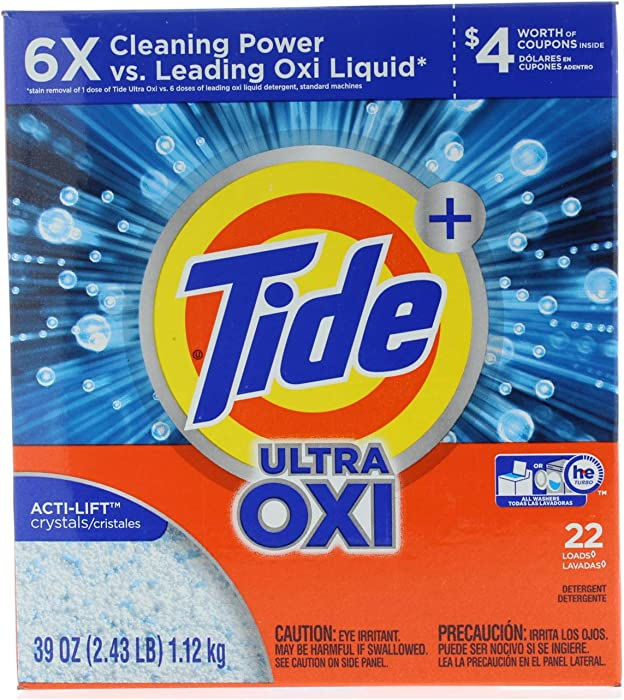 4SGM Tide Plus He Ultra OXI ACTi-Lift Crystal Powder Laundry Detergent 39 oz. (22 Loads Total), Multicolor