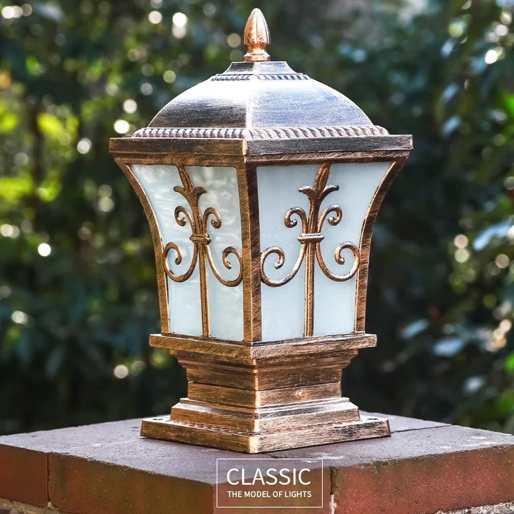 HDMY Luce di colonna di dimensioni multiple Colonna di luce d'epoca cancello antico cortile Led luce colonna all'aperto Villa luce classica europea pilastro