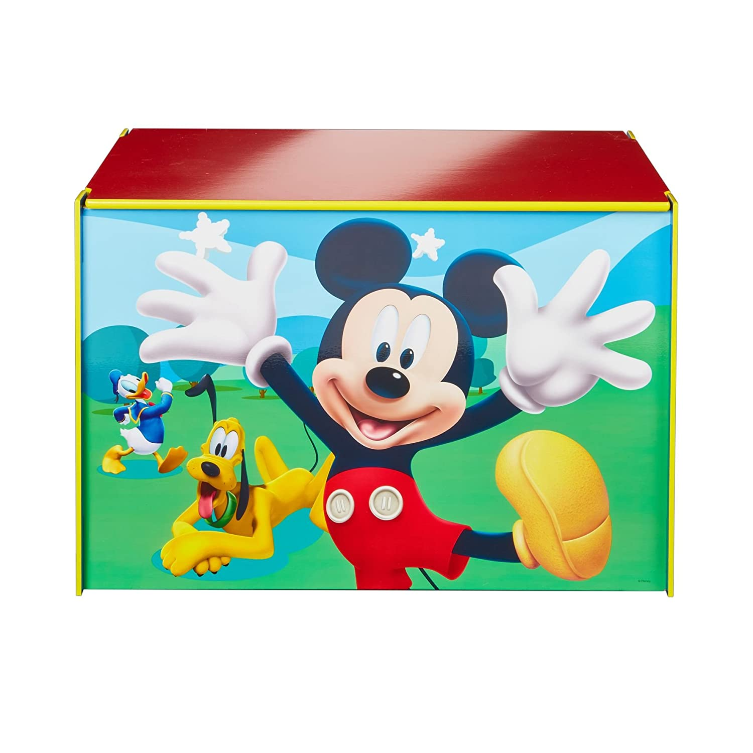 Disney Mickey Mouse Kids Toy Box - Childrens Bedroom Storage Chest with Bench Lid by HelloHome Worlds Apart 474MKS