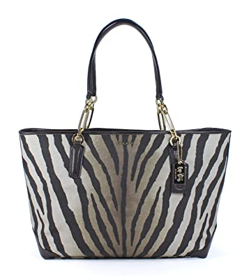 amazon com coach madison zebra print east west tote shoulder bag rh uedata amazon com