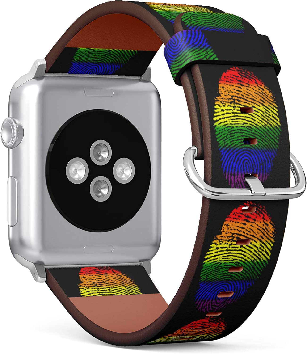 (LGBT Rainbow Color Fingerprint) Patterned Leather Wristband Strap for Apple Watch Series 4/3/2/1 gen,Replacement for iWatch 42mm / 44mm Bands