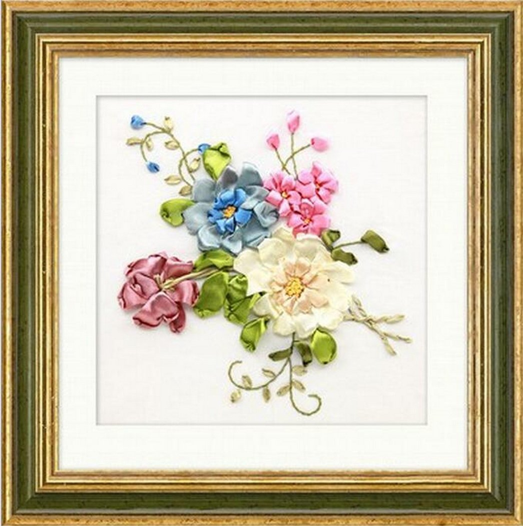 Multicolor-1 Aureate Handmade Silk Ribbon Embroidery Kits Canvas 3D Wall Art Home Decoration DIY Needlepoint Tapestry Hanging Gift Floral 14/×14