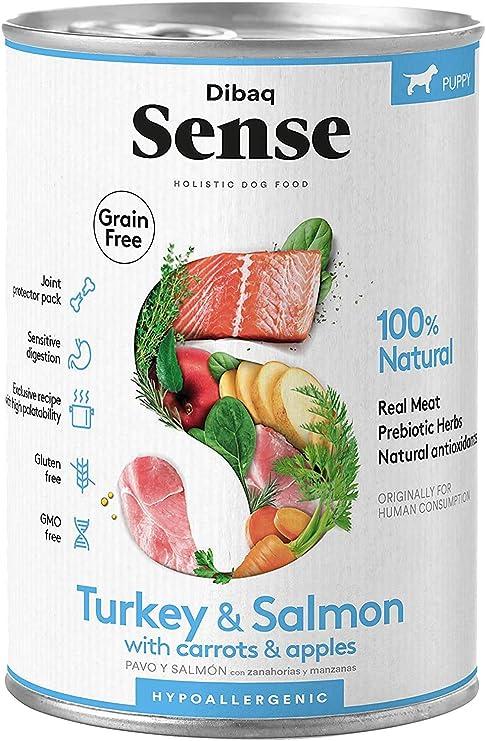 Dibaq Sense Grain Free Salmón y Pavo para cachorros de perro. 100% natural. Sin gluten.