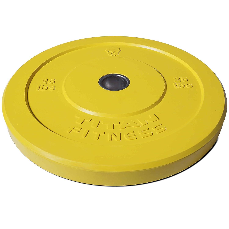 Titan Fitness Pair 25lb Olympic Bumper Plate Yellow Benchpress Strength Training