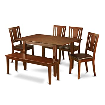 Astounding East West Furniture Psdu6D Mah Lc 6 Pc Dining Room Set With Bench Table With 4 Dining Chairs And Bench Creativecarmelina Interior Chair Design Creativecarmelinacom