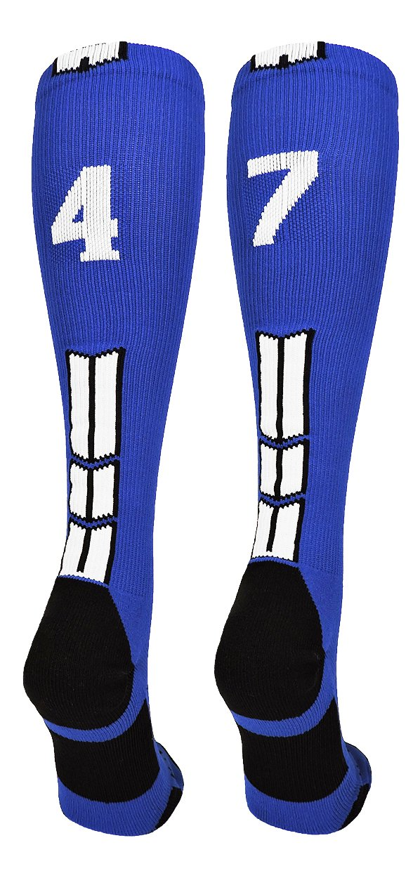 MadSportsStuff Royal/White Player Id Over The Calf Number Socks (#47, Large)