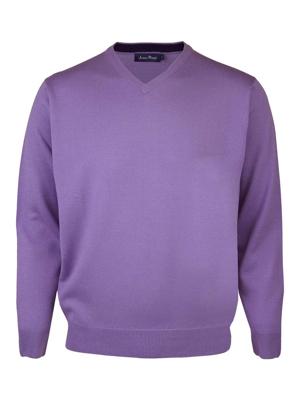 James Pringle V Neck Acrylic Jumper [2080420PR2] Mid Purple- Size L