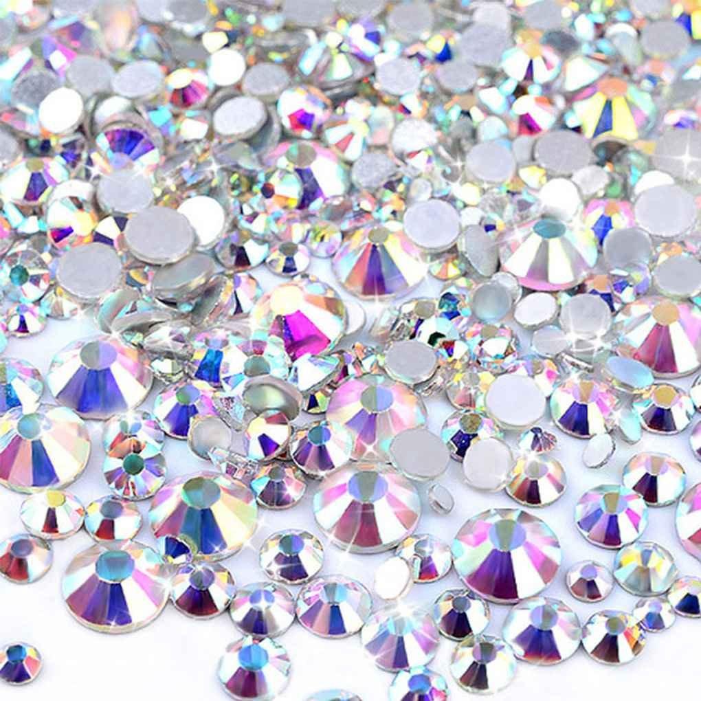 censhaorme 1440PCS Claro de Plata Rhinestones de Cristal tama/ños de la Mezcla del Arte del Clavo del Rhinestone del Brillo de Aluminio Decoraci/ón