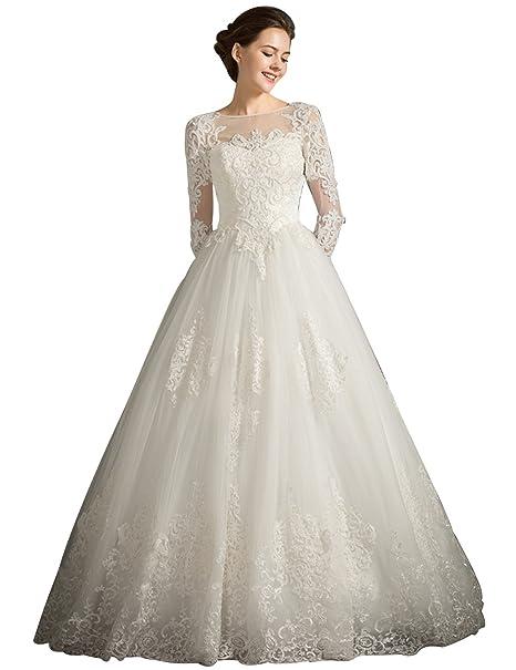 Tsbridal Ball Gown Bohemian Wedding Dress 2018 Long Sleeves Lace ...