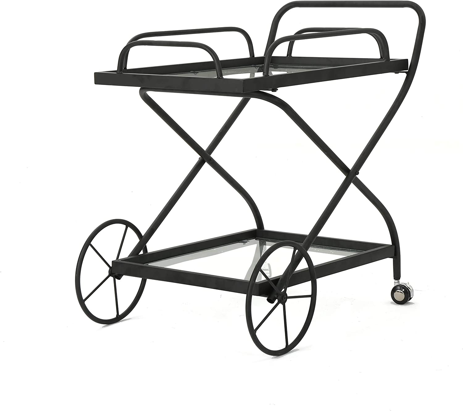 Christopher Knight Home Perley Indoor Traditional Iron Bar Cart with Tempered Glass Shelves, Black