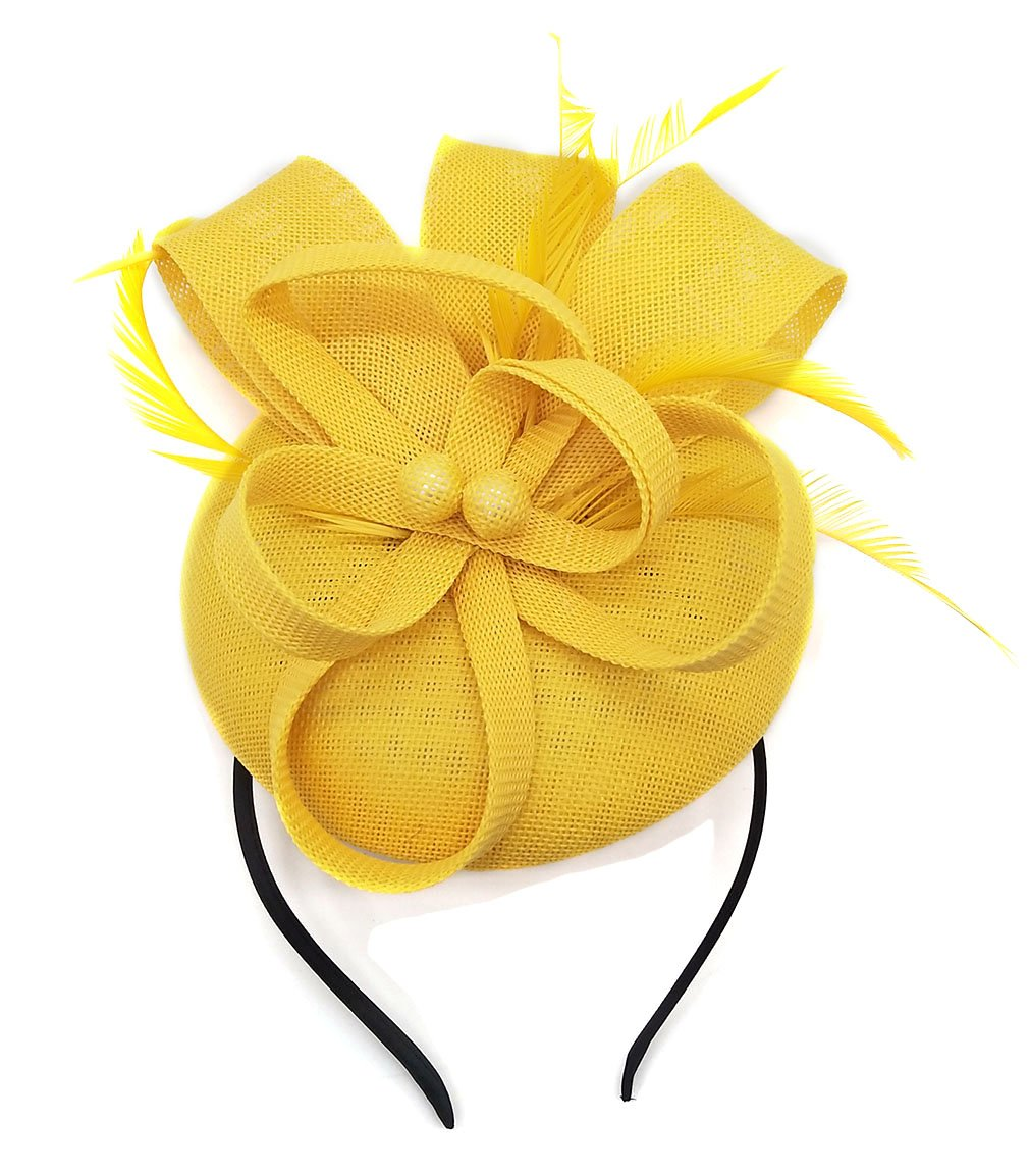Biruil Women's Fascinator Hat Imitation Sinamay Feather Tea Party Pillbox Flower Derby (Yellow) by Biruil (Image #3)
