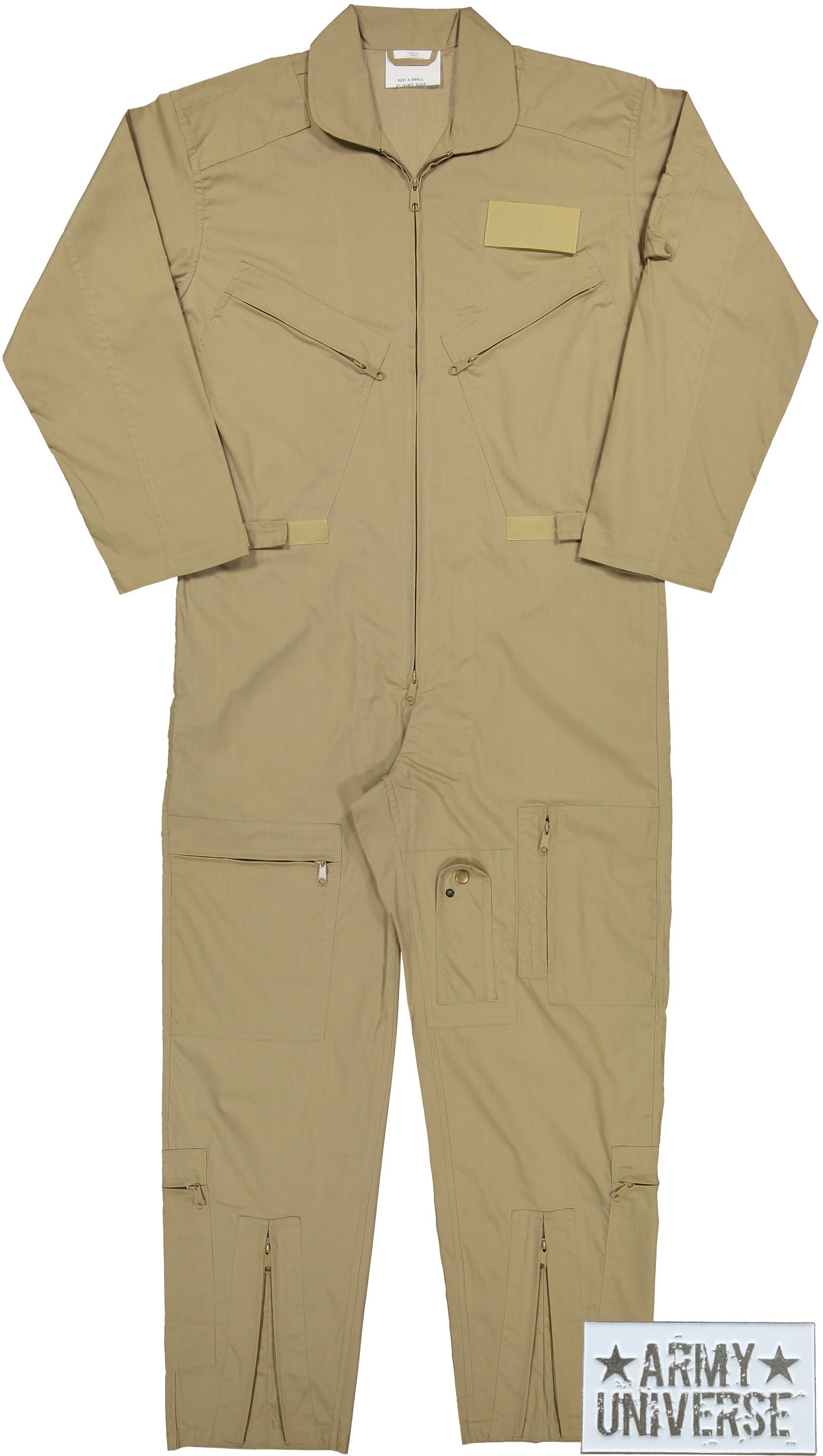 Army Universe Air Force Flight Suits, US Military Type Coveralls, Uniform Overalls/Jumpsuits with Pin (Khaki, Large)