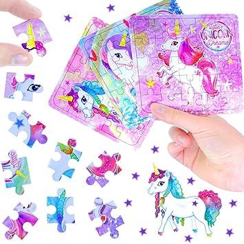 German Trendseller® 3 x rompecabezas unicornio┃puzzle┃los colores del arco iris┃ fiestas infantiles┃ idea de regalo┃piñata┃cumpleaños de niños┃ 3 ...