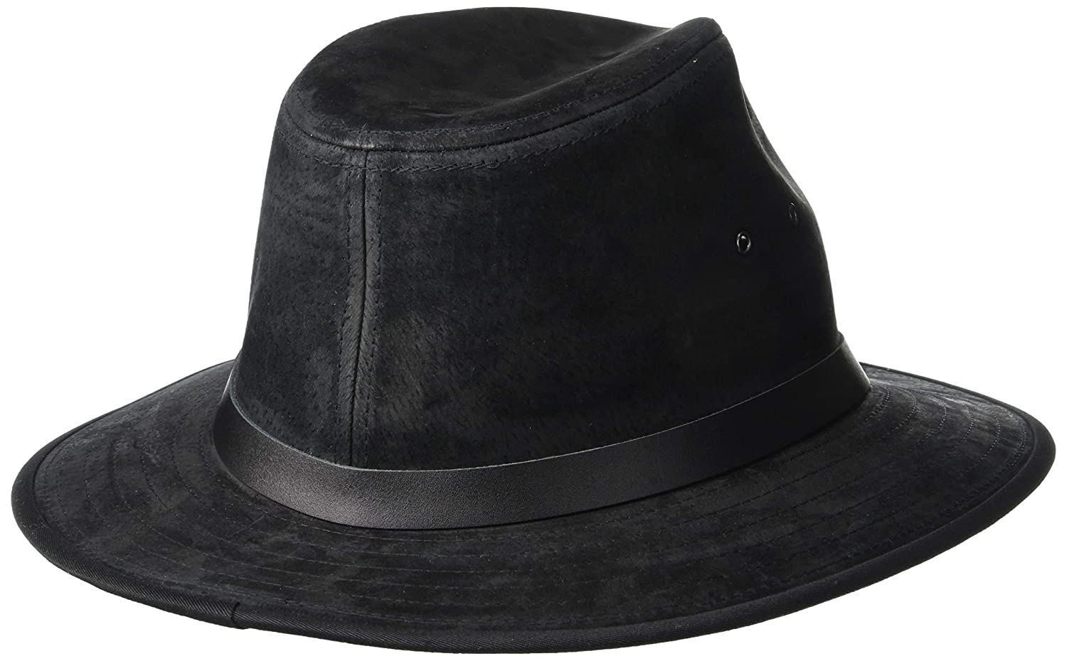Henschel Hats Safari GENUINE LEATHER Lined Fedora Hat (Small 6fc26b21aab