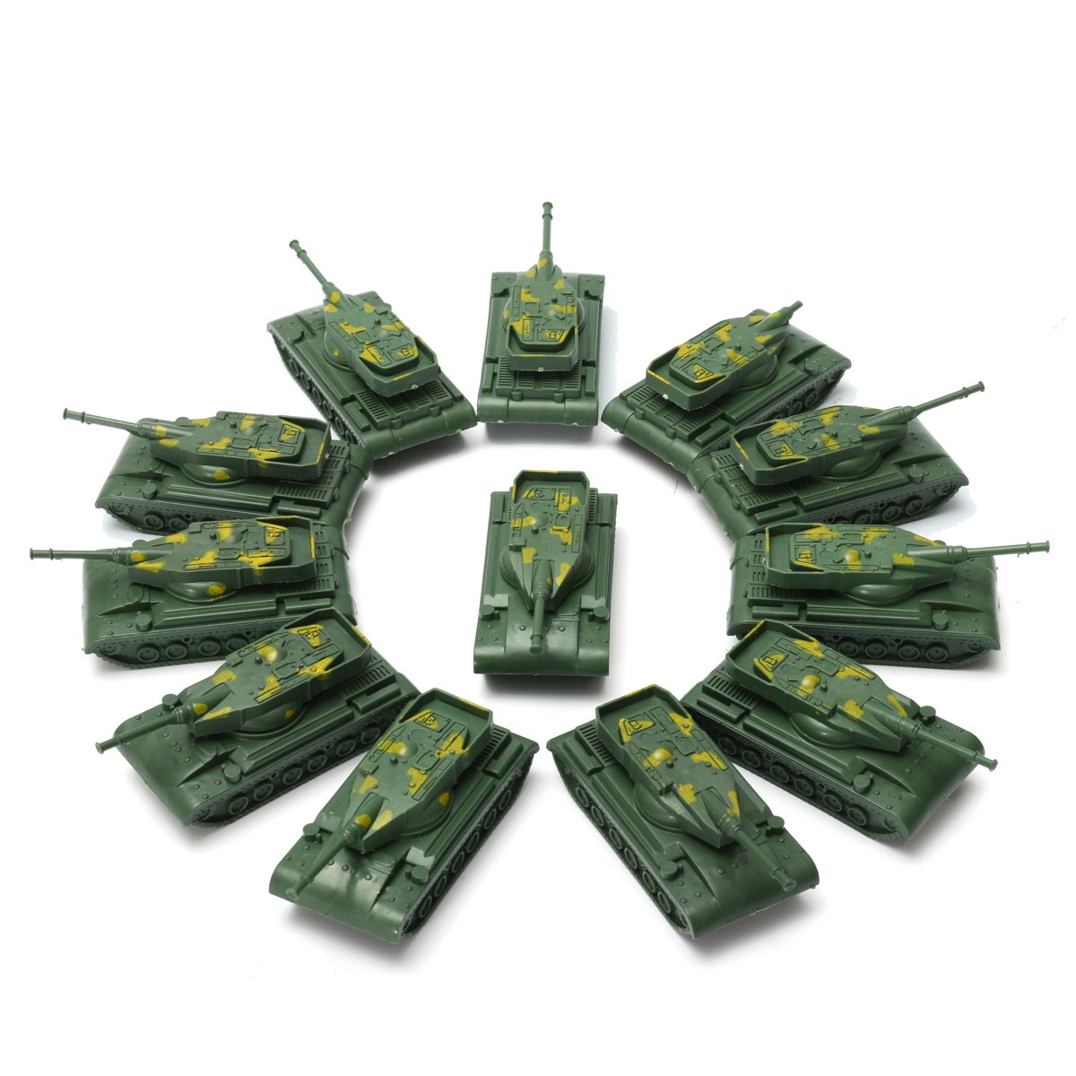 CynKen 12Pcs Military Tank Model Rotating Turret Plastic Toy Soldier Army Men Accessory For Sandbox