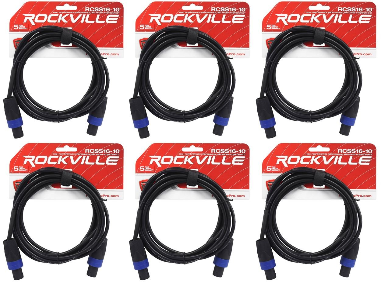 6 Rockville RCSS1610 10' 16 AWG 100% Copper Speakon to Speakon Pro Speaker Cable