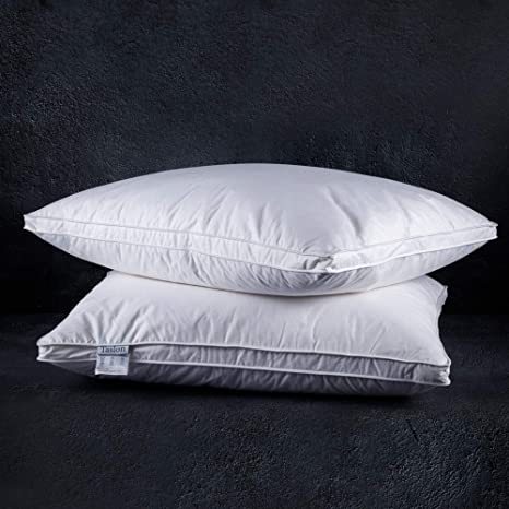 Amazon Com Soft Down Pillows For Sleeping 2 Pack Standard 20inx26in Natural Down Feather Bed Pillow Inserts 100 Cotton Cover Comfortable Sleeping Pillows For All Seasons Kitchen Dining