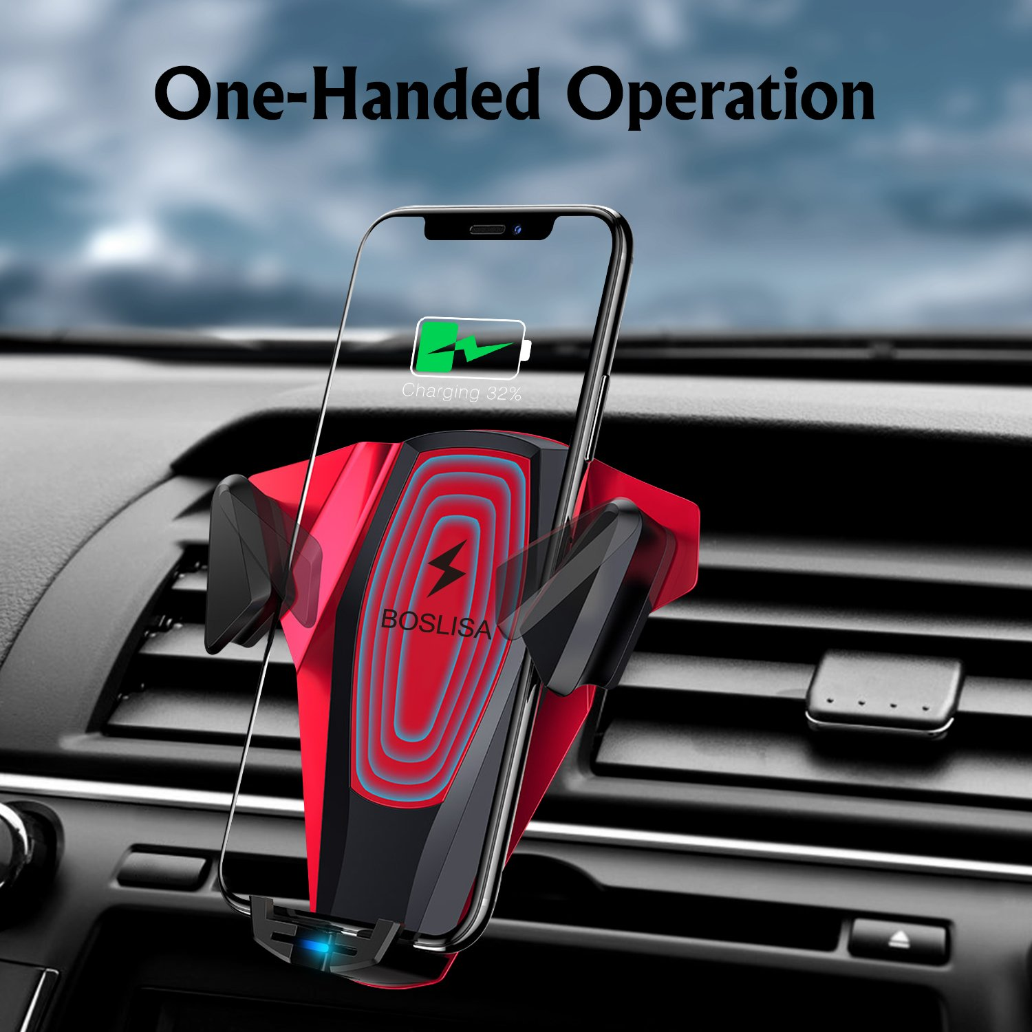 Wireless Car Charger, BOSLISA X-Man Wireless Charger Car Mount, Air Vent Phone Holder, QC3.0 Fast Charging Compatible for iPhoneX/8/8 Plus/Samsung Galaxy S9/8/7/Note 8 and More Qi Phones (Red) by BOSLISA (Image #2)
