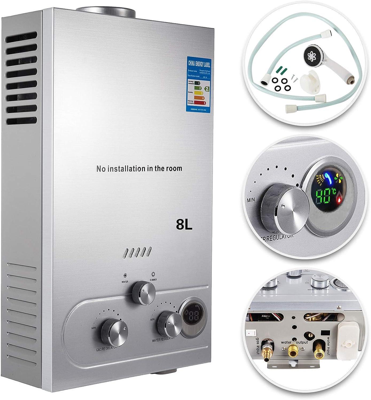 VEVOR Calentador de Gas 8L, Calentador de Agua de Gas 8L, Calentador de Agua a Gas LPG, Calentador Gas Licuado de Petróleo, Calentador de Agua
