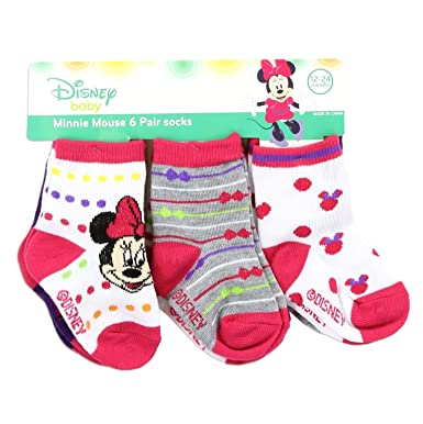b32ed604e86d0 Amazon.com: Minnie Mouse Set of 6 Baby Socks. Disney Baby Girl Red ...