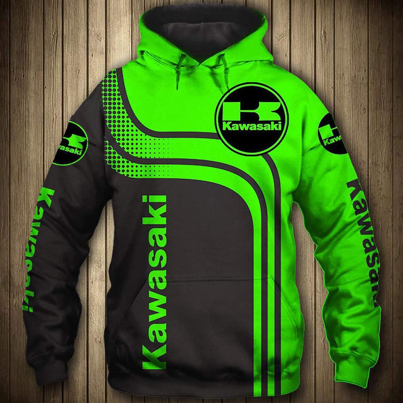 Hoodie//Men Women Spring Zippers Hooded Pullover//Crew Neck Sweatshirt//Summer Unisex T-Shirt with Kawasaki Logo Hoodie-XXXL