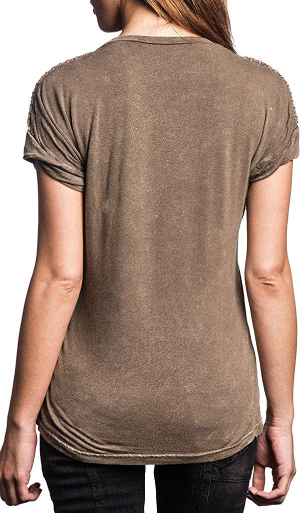 Affliction Confession Dolman Short Sleeve Scoop Neck Top For Women