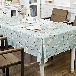 """Hewaba Rectangle Printed Tablecloth - 60"""" x 104"""" Polyester Washable Table Cover, Seats 8-10 People, Wrinkle Free, Oil-Proof/Waterproof Tabletop Protector for Kitchen Dining Party - Plum Blossom …"""