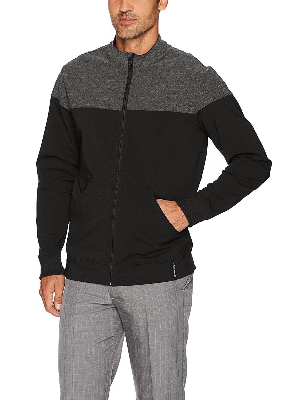 adidas Golf Men's Hybrid Heather Jacket, Black/Black Heather, X-Large