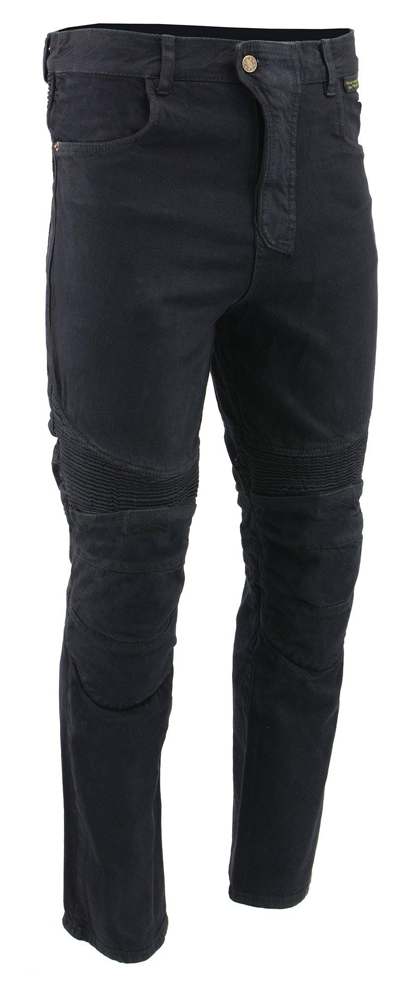 M-BOSS MOTORCYCLE APPAREL-BOS15573-BLACK-Mens denim motorcycle pants with CE armor and Kevlar.-BLACK-32