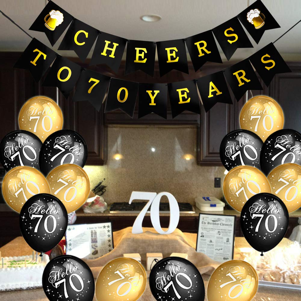 Howaf 70th Birthday Party Decorations Black And Gold Latex Balloon Cheers To 70 Years Banner