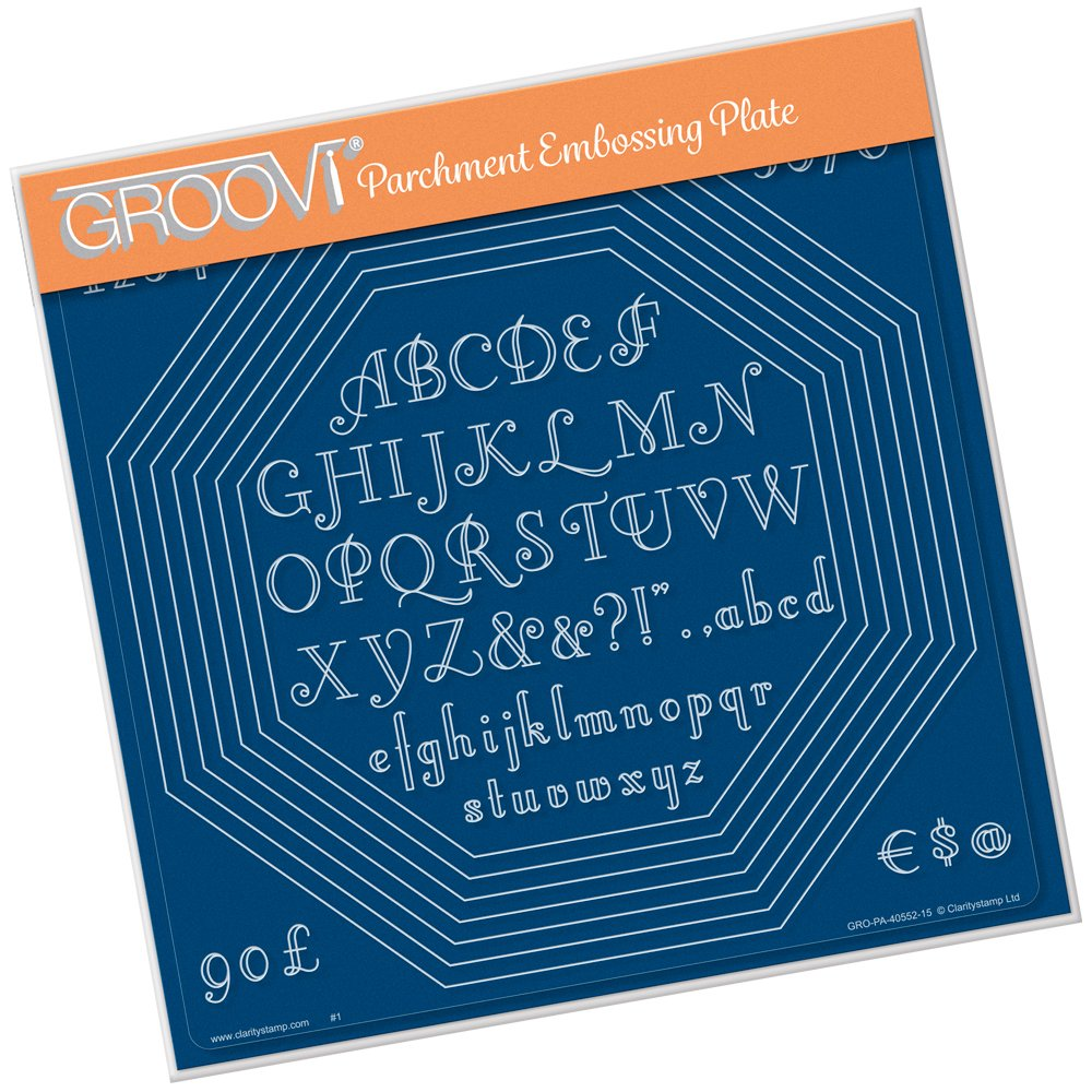Groovi A4 Square Plate - Nested Octagon Extension & Art Deco Alphabet Claritystamp