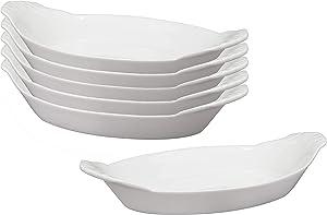 HIC Harold Import Co. 98021/6 HIC Oval Au Gratin Baking Dishes, Fine White Porcelain, 10-Inch, Set of 6