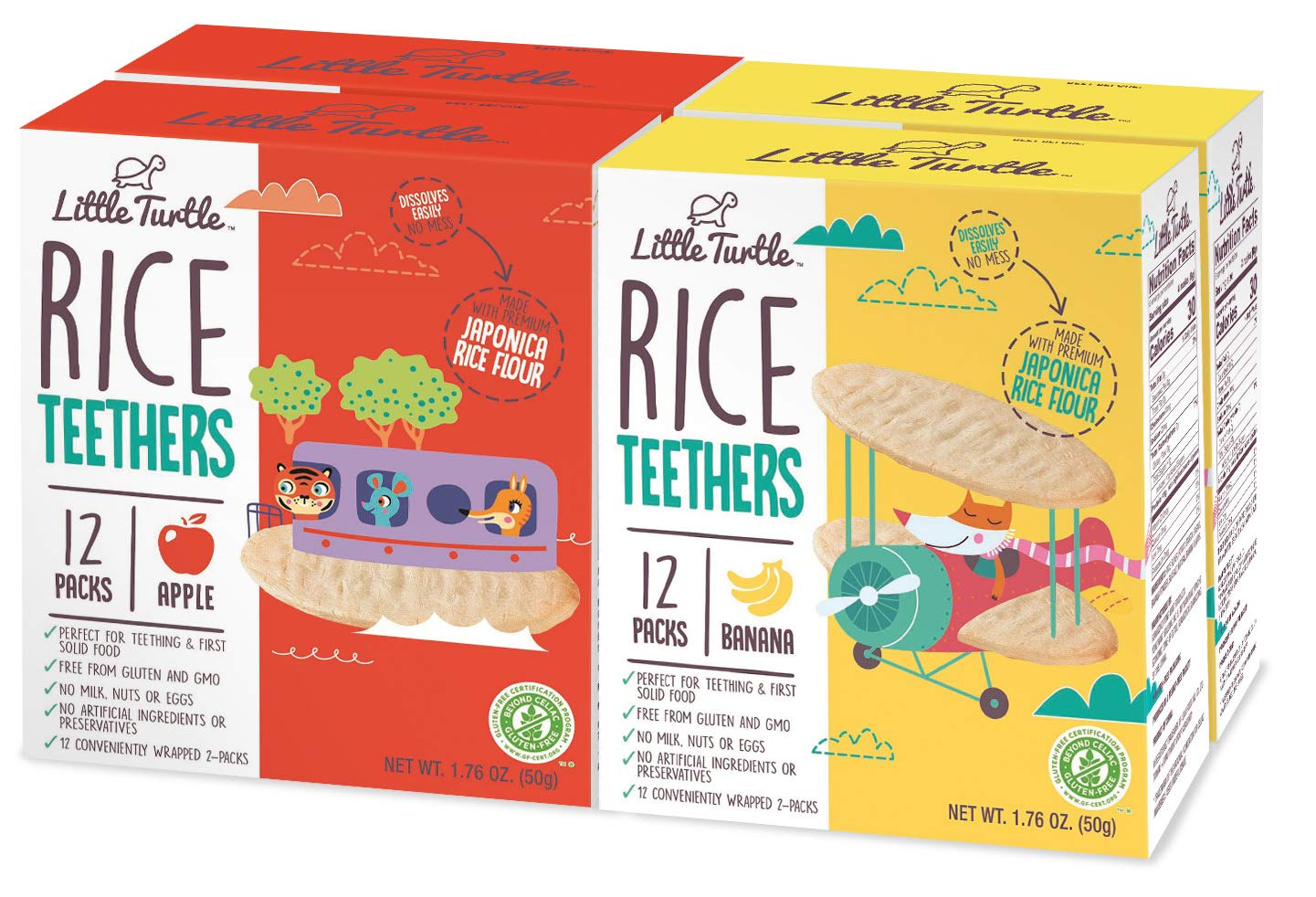 Little Turtle Rice Teethers Combo Pack, Apple & Banana Flavor, 12 wrapped 2 Pack, 4 Count