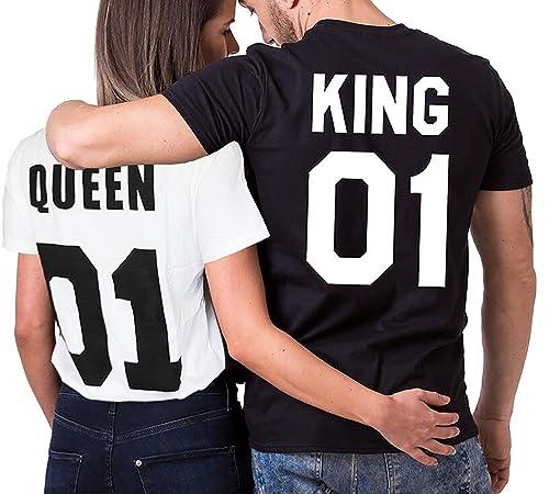 Minetom King Queen 01 Impresión Hombres Mujer Moda T-Shirt Verano Manga Corta Impreso Parejas Tops