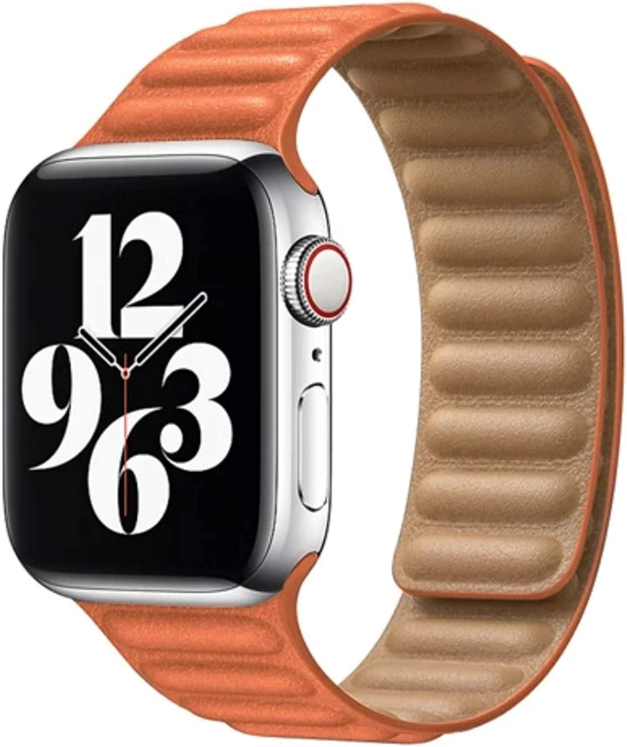 JYF Leather Link Band Compatible with Apple Watch Band 38mm 40mm 42mm 44mm iWatch Series 6 5 SE 4 3 2 1 Strap, Latest Magnetic Closures Stainless Steel Flexible Molded Adjustable Wrist Replacement