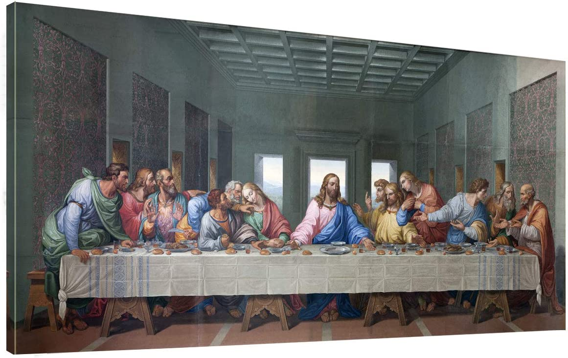 """the Last Supper Wall Decor by by Leonardo Davinci Painting Print - 20"""" x 40"""" Long Pictures Poster Canvas Art Framed for Living Room Bedroom Office Dinning Room"""