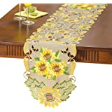 Embroidered Sunflowers Table Linens With Intricate Cut Outs, Runner