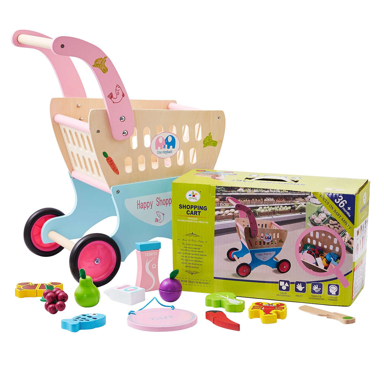 HM-tech Wooden Baby Learning Walker Toddler Toys, Kid's Wooden Shopping Cart with Cutting Fruit Set, Roll Cart Push & Pull Toy by HM-tech