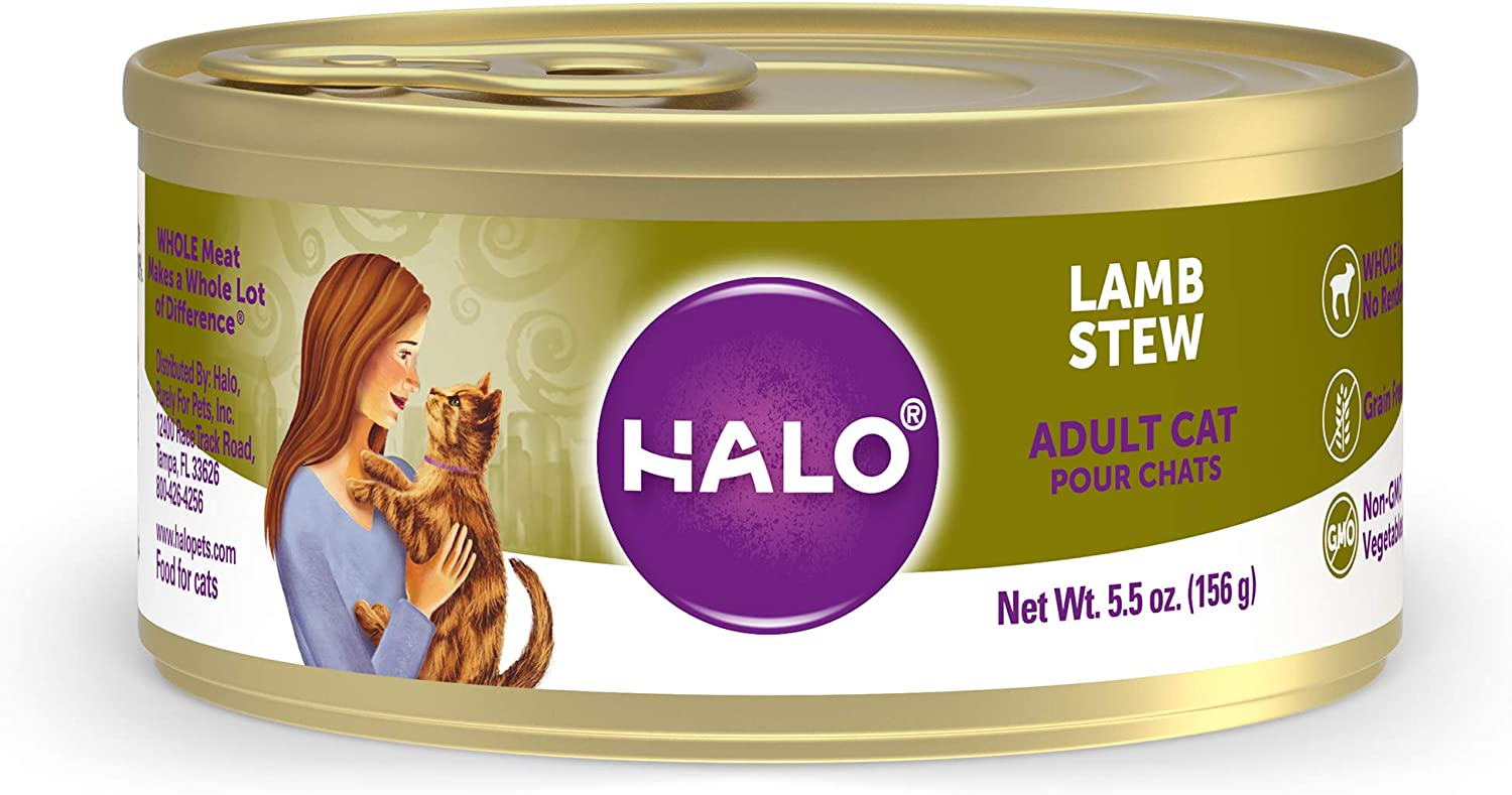 Halo Grain Free Natural Wet Cat Food - Premium and Holistic Whole Meat Lamb Stew - 5.5oz Can (Pack of 12) - Sustainably Sourced Adult Cat Food that's non-GMO, BPA Free, and Highly Digestible
