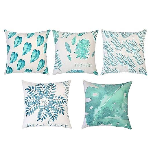 Topfinel Hogar 5 Hojas Cojines Decorativa Almohadas Fundas para Sofá Cama Sala de Estar 45X45cm Turquesa&Azul Serie Planta Tropical