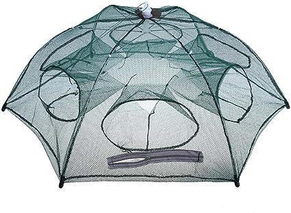 Kalaokei Foldable Nylon Fishing Net Crab Fish Crawdad Shrimp Minnow Bait Trap Drift Cage