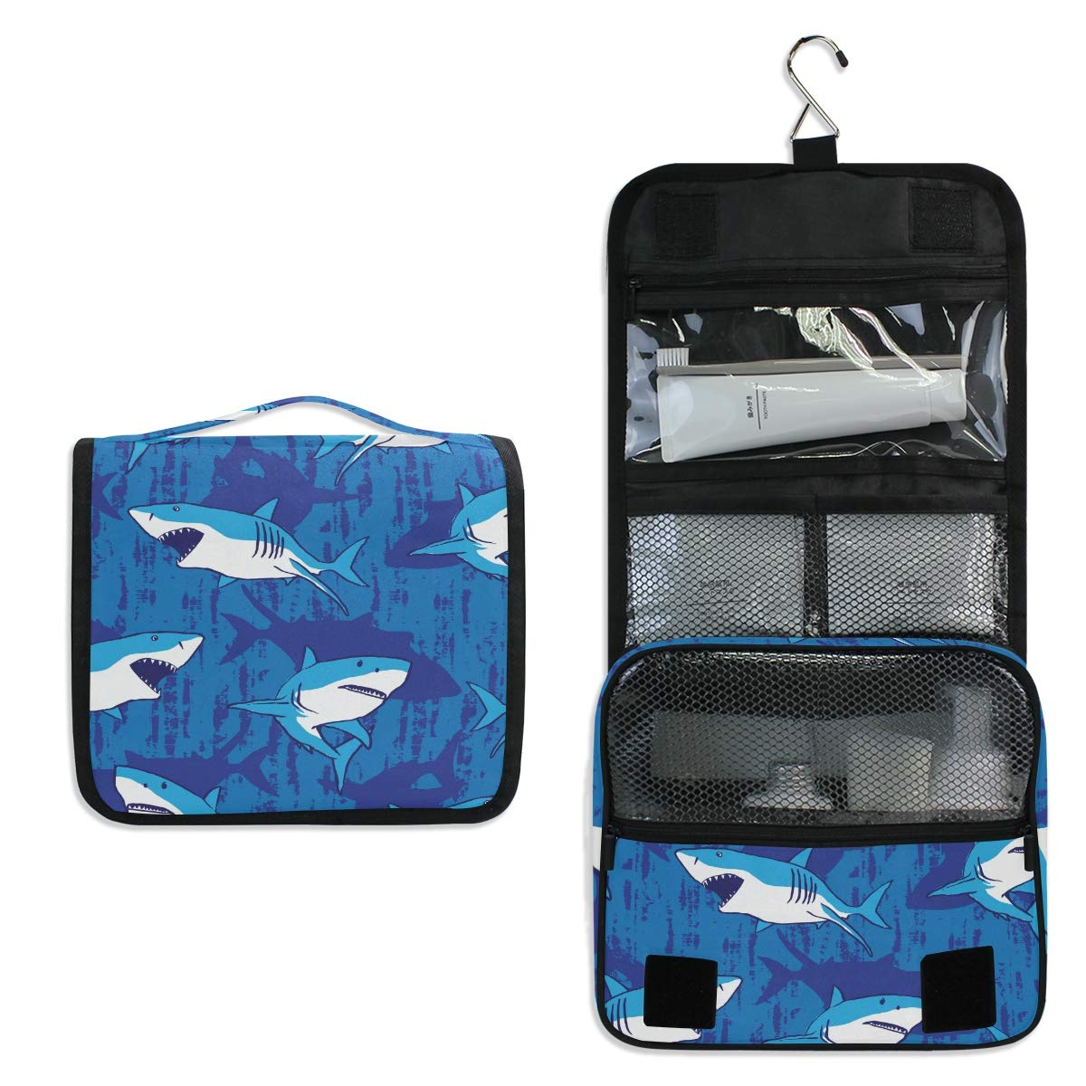 Hanging Travel Toiletry Bag - Shark Cosmetic Makeup Bag Pouch Organizer for Women and Girls Waterproof (shark)