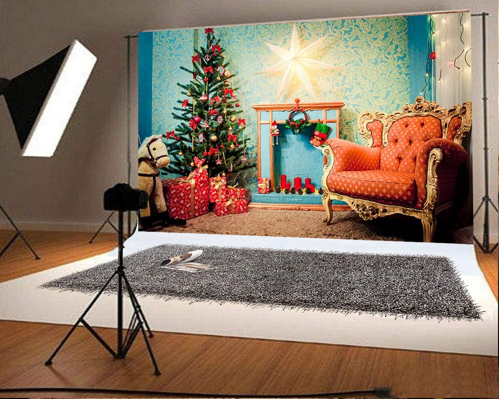 10x6.5ft Christmas Tree Gift Photography Backdrops Red Chair Photo Background Xmas Microfiber Soft Fabric Backdrop for Photoshoot