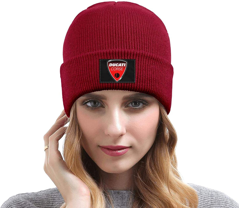 Mens Ducati-Motorcycle-Logo Wool Beanie Cap Knit Caps Fine Knit Knitting Beanie HatsWarm Slouchy