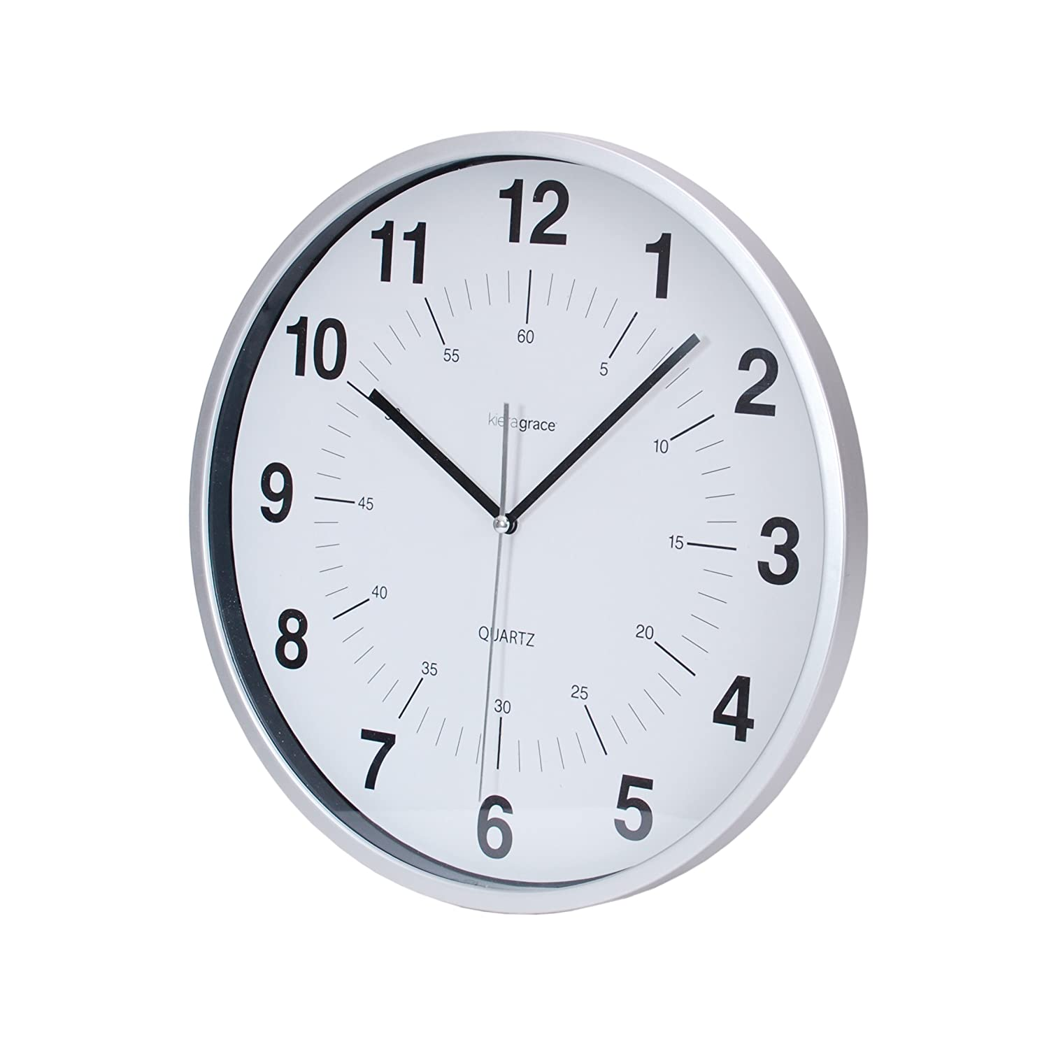 Amazon kiera grace synchro silent wall clock 12 inch 34 amazon kiera grace synchro silent wall clock 12 inch 34 inch deep silver home kitchen amipublicfo Images